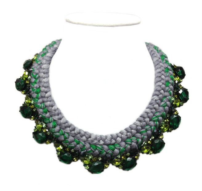 Custom made necklace with emerald green rhinestones and a double collar braid in grey, green and a hint of yellow