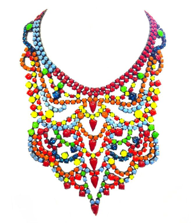 A colourful statement necklace with rhinestones hand-painted in neon
