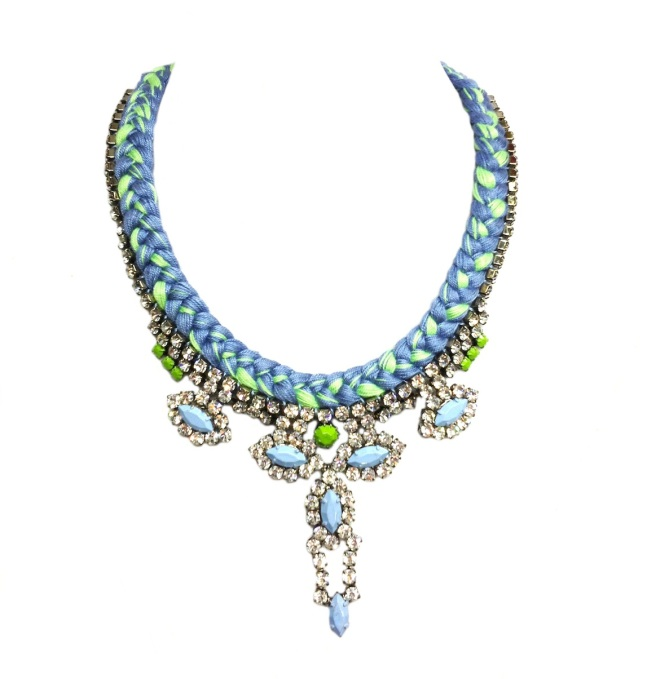 A custom made St.Petersburg necklace with modern rhinestones and a pastel blue and green braids