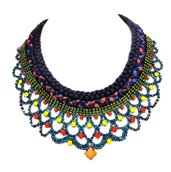 A colourful statement necklace made with double braid and crystals hand-painted in peridot green, sky blue and neon