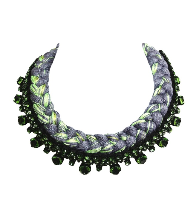 A collar style braided statement necklace in chartreuse and charcoal silks, made with Bohemian glass rhinestones in green