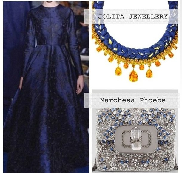Crystal Touch Kuwait boutique suggests how to wear Bohemian Glass statement necklace by Jolita Jewellery, made with royal blue and a hint of gold silk, braided onto beautiful bohemian glass necklace in amber