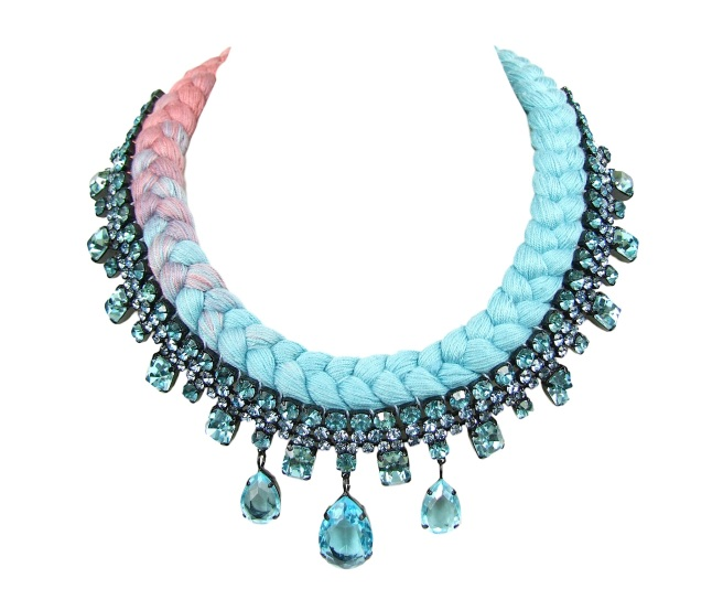 A braided statement necklace in dip-dyed terracotta and light blue silks, made with Bohemian glass rhinestones.