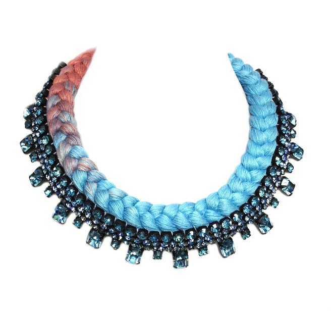 A braided collar style statement necklace in dip-dyed terracotta and light blue silks, made with Bohemian glass rhinestones.