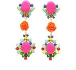 These colourful statement earrings are hand-made with meticulous attention to detail. The bigger stones are covered in hand-dyed silk, the rhinestones are hand-painted in beautiful pastels, adorned with coral flowers and dipped in gold.