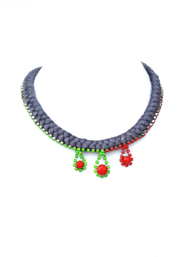 Simple, yet elegant Esmeralda necklace with grey braided silk and rhinestones, hand-painted in bright red and green colours