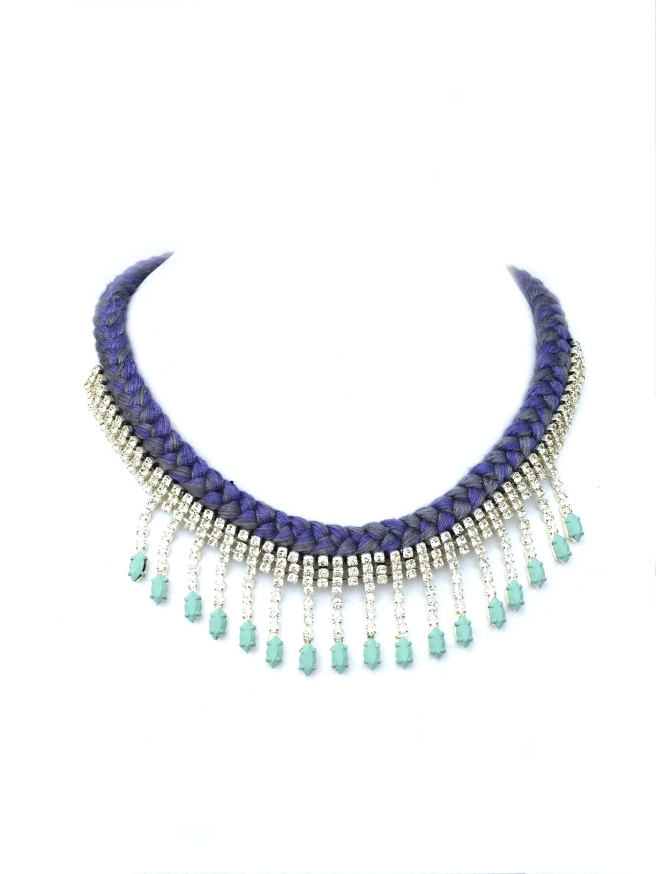 A beautiful statement necklace, made with mixed purple braid and clear rhinestones, hand-painted in pastel blue