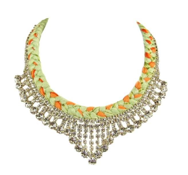 Monaco statement necklace made with orange and pistachio green silk braid and clear crystals