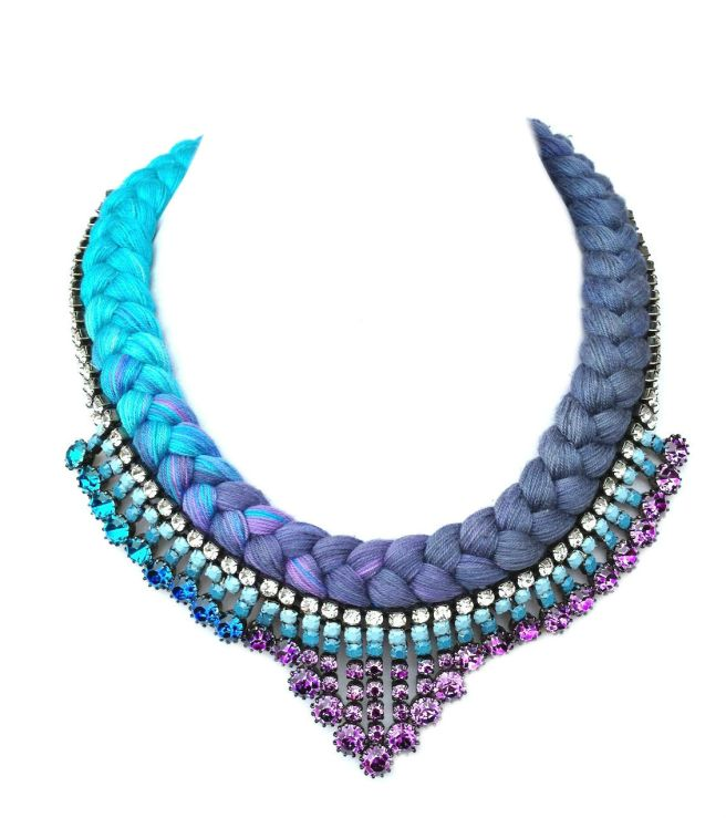 This colourful statement Monaco necklace is made with dip-dye silk in purple and turquoise with rhinestones hand-painted in similar to braid colours