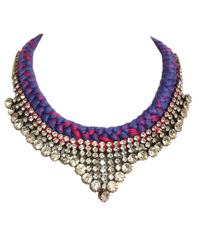 This colourful statement Monaco necklace is made with purple silk braid, mixing in a touch of fuchsia with clear rhinestones