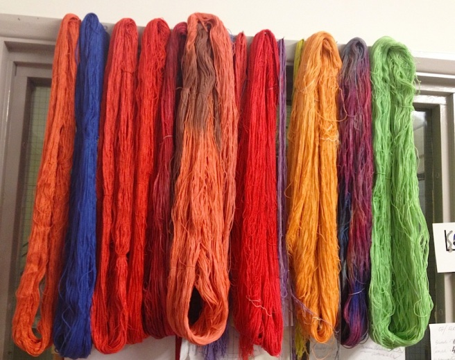 New colourful silk, hand-dyed in a multitude of colours in Jolita studio