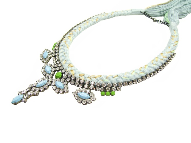 Necklace made with powder blue, pastel green and gold silks braided onto a modern crystal necklace, hand-painted in blue and green
