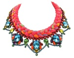 A bright colourful statement necklace made with crystals and silk braid in vivid crimson mixing in a touch of neon green, blue, orange and yellow.