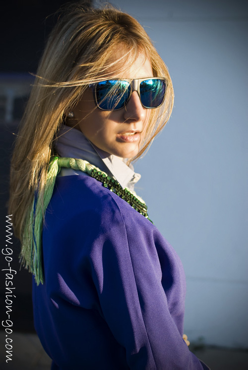 Marian from Go Fashion Go blog is wearing Barcelona Chartreuse necklace by Jolita Jewellery, made with bohemian glass rhinestones and braided silks in chartreuse, mixing in a hint of blue and metallic