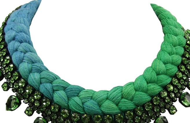 A colourful braid in dip-dyed blue and emerald green silks, hand-dyed by Jolita Jewellery designer in his London studio