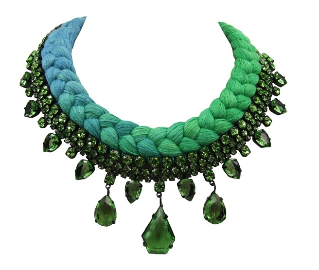 A colourful braided statement necklace in dip-dyed blue and emerald green silks, made with Bohemian glass rhinestones in green