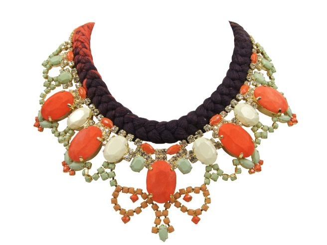 A colourful braided statement necklace made with a dip-dyed silk braid, rhinestones, hand-painted in soft pastels, and bigger stones covered in hand-died silk