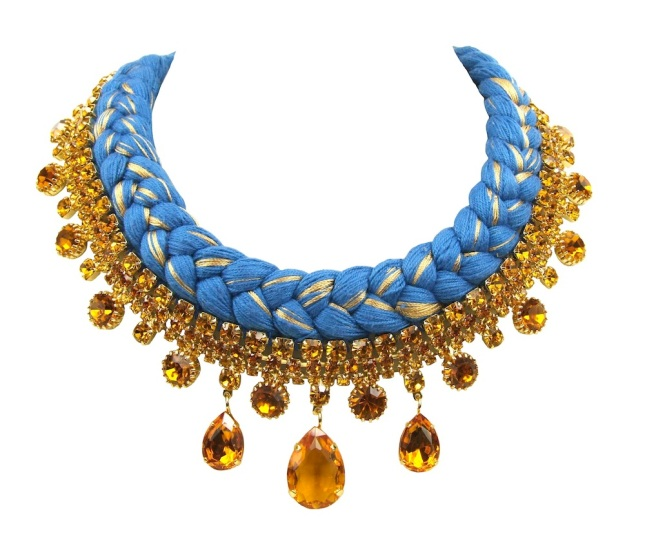 Beautiful statement necklace made with cobalt blue silk, mixing in a hint of metallic and restored glass necklace