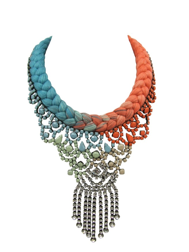 Colourful statement necklace made with a dip-dyed silk braid in turquoise and peachy orange with rhinestones hand-painted in soft pastels