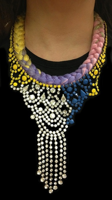 Colourful statement necklace made with a gradually dyed silk braid in rainbow pastel colours with rhinestones hand-painted in yellow, blue and a touch of soft grey