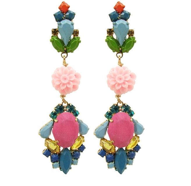 These colourful statement earrings are hand-made with meticulous attention to detail. The bigger stones are covered in dark pink hand-dyed silk, the rhinestones are hand-painted in beautiful pastels, adorned with coral flowers and dipped in gold.