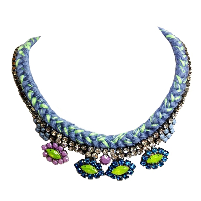 A colourful statement necklace made with blue and green mixed braid and rhinestones, hand-painted in lime green, purple and blue