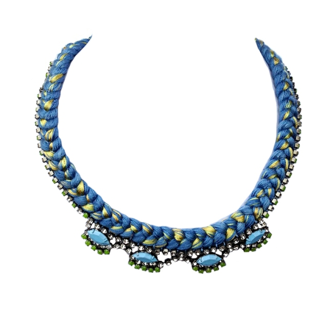 A colourful statement necklace made with blue and yellow mixed braid and rhinestones, hand-painted in light blue