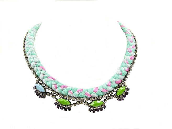 A colourful statement necklace made with mint green and pink mixed silk braid and rhinestones, hand-painted in pastel blue and green