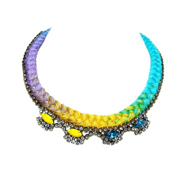A colourful statement necklace made with bright gradually hand-dyed braid and rhinestones, hand-painted in yellow and blue