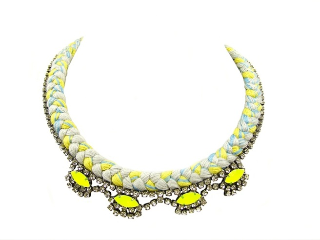 A colourful statement necklace made with grey, yellow and light blue mixed silk braid and rhinestones, hand-painted in neon yellow