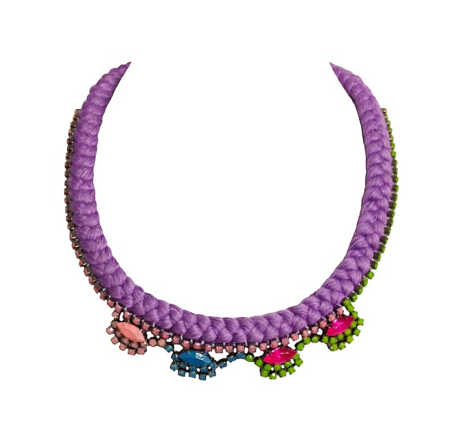 A colourful statement necklace made with purple braid and rhinestones, hand-painted in pastel and neon pink, green and blue