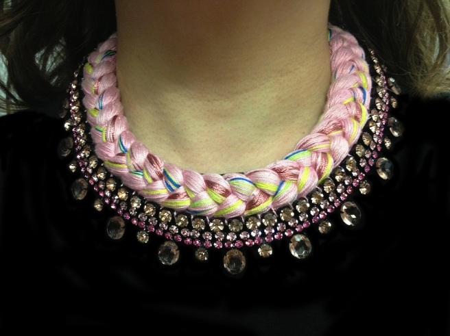 A colourful collar style statement necklace braided with yellow, royal blue and pink hand-dyed silks