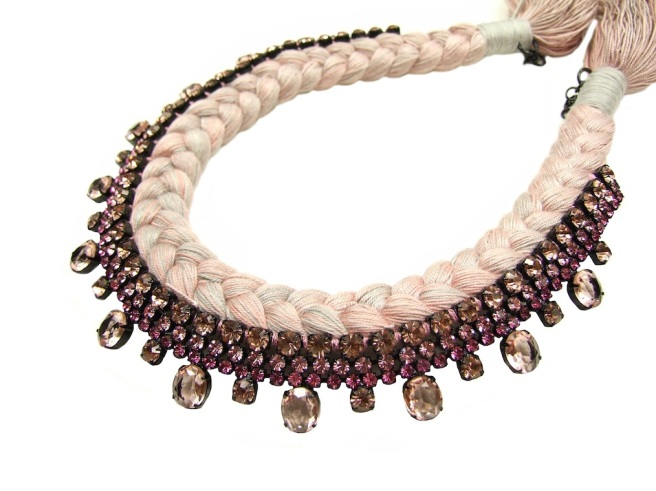 A collar style braided statement necklace in grey and muted pink silks, made with Bohemian glass rhinestones in light pink