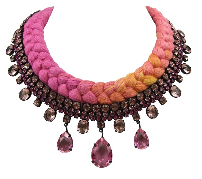 Braided statement necklace made with triple-dyed silk braid in fuchsia, salmon pink and a touch of yellow