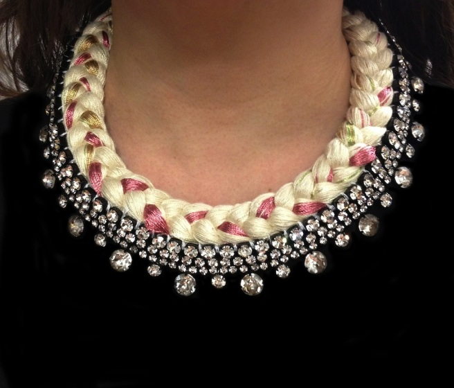 Seychelles collar style statement necklace made with clear rhinestones and nude silk, mixing in a touch of grey and pink