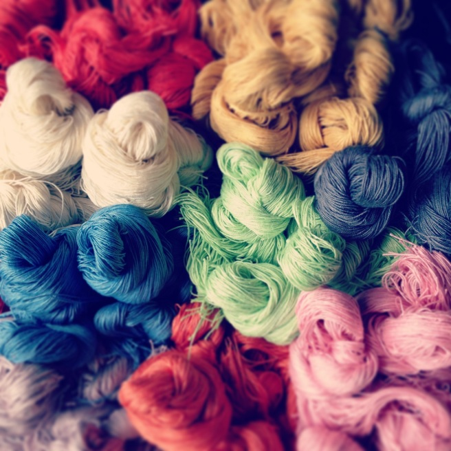 Colourful silk hand-dyed in beautiful colours by Jolita Jewellery designers in his London studio