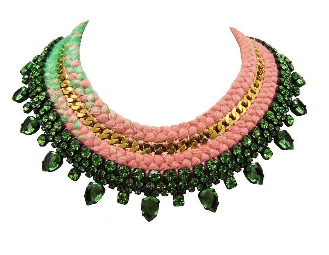 A luxury statement necklace made with a double silk braid in a dip-dyed baby pink and light green colours, embellished with green rhinestones and a gold-tone vintage chain.