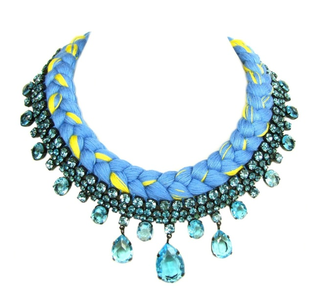 A colourful braided statement necklace in canary yellow and light blue silks, made with Bohemian glass rhinestones in light blue