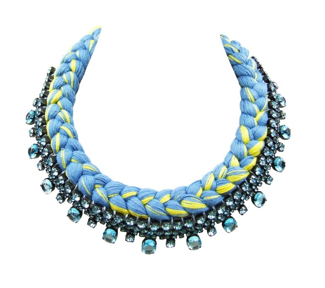 A colourful collar style braided statement necklace in canary yellow and light blue silks, made with Bohemian glass rhinestones in light blue