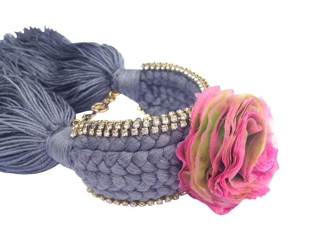 Colourful braided cuff handmade with a dark grey silk braid and embellished with small crystals and a handmade silk flower