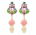 Colourful statement earrings with hand-painted crystals, embellished with pink coral pressed dahlias and white skulls, hand-carved from bone. Earrings are dipped in gold for luxurious rich finish.