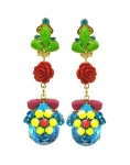 Colourful clip on statement earrings with red coral roses and aquamarine rhinestones hand-painted in bright neon tones. Clip-ons are dipped in gold for luxurious rich finish.