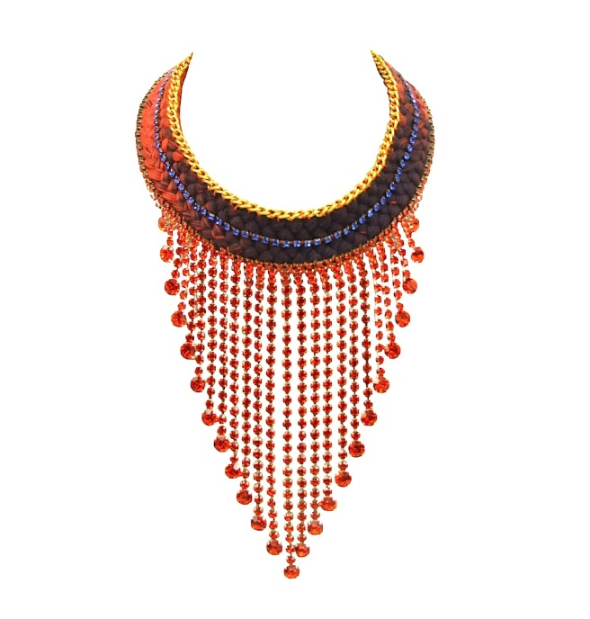 This one-of-a-kind handmade statement necklace is made with long Czech crystal drops, a double collar dip-dyed orange and dark plum silk braid, hand-dyed by the designer and embellished with a gold-tone vintage chain and blue crystals.
