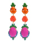 Colourful statement earrings hand-made with meticulous attention to detail. The bigger stones are covered in bright fuchsia hand-dyed silk, the rhinestones are hand-painted in beautiful shades of orange, blue and green, adorned with orange coral flowers and dipped in gold.