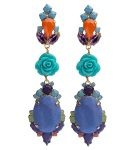 Colourful statement earrings hand-made with meticulous attention to detail. The bigger stones are covered in lavender hand-dyed silk, the rhinestones are hand-painted in beautiful shades of orange, blue and green, adorned with turquoise coral flowers and dipped in gold.