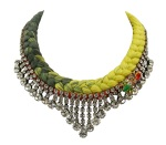Monaco statement necklace made with dip-dyed charcoal and light yellow silk braid, clear crystals, embellished with colourful bees dipped in gold, and stitched with red silk