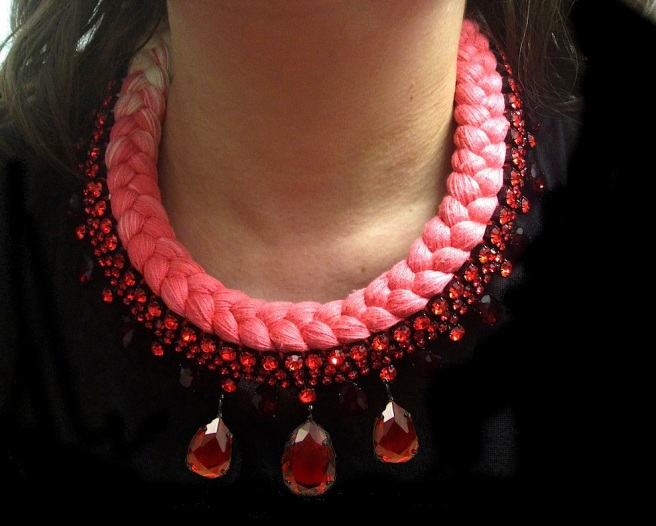 Braided statement necklace made with red bohemian style rhinestones and dip-dyed silk braid in scarlet red and white