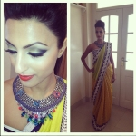 Behind the scenes from the recent shoot for NGSarees debut saree collection. A model is wearing one-of-a-kind Marrakech necklace by Jolita Jewellery made with vintage chains, grey silk braid and rhinestones hand-painted in neon. Hair, make-up and styling by Vithya, photography - Arunn G.