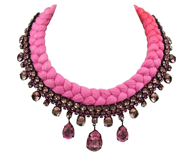 Braided statement necklace made with pink bohemian style rhinestones and dip-dyed silk braid in fuchsia and crimson