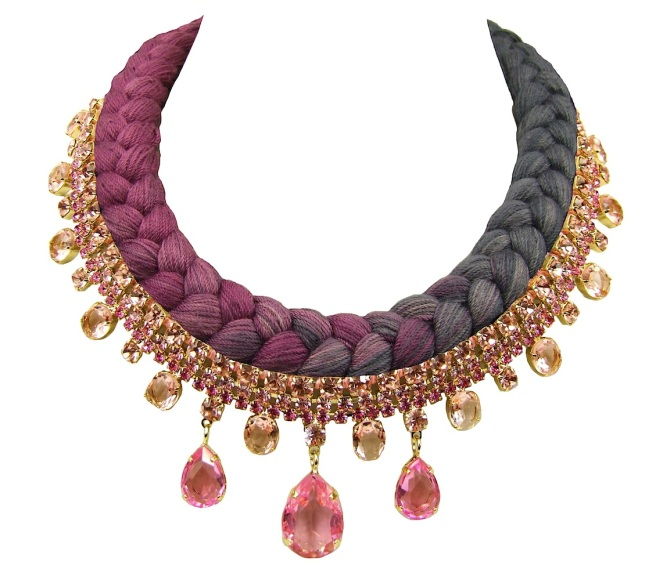 Braided statement necklace made with gold-lated pink bohemian style rhinestones and dip-dyed silk braid in plum maroon and charcoal